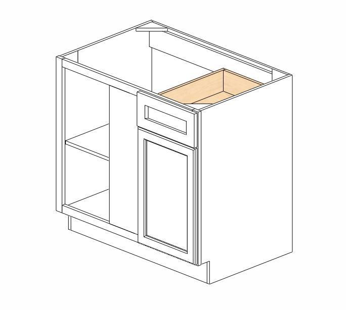 Bblc39 42 36 w ice white shaker blind base corner cabinet for 36 corner cabinet