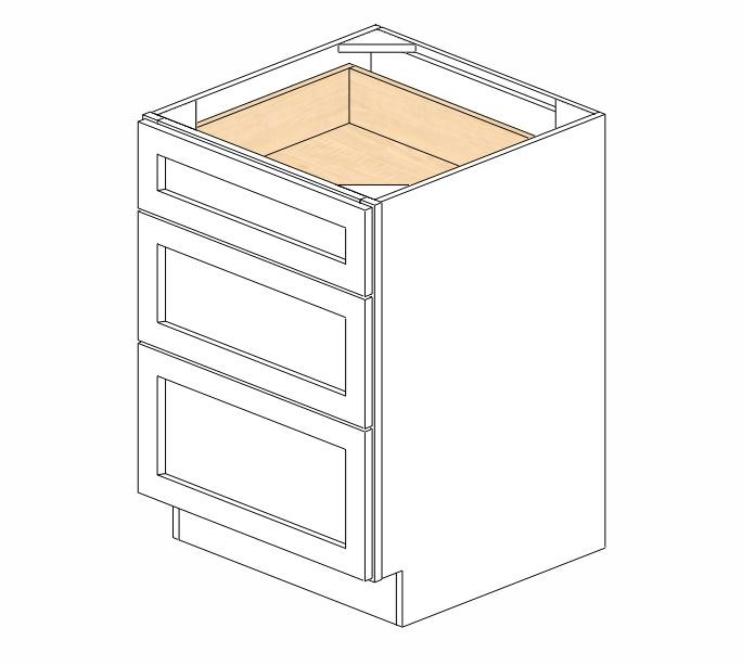 db24 3 ice white shaker drawer base cabinet rta
