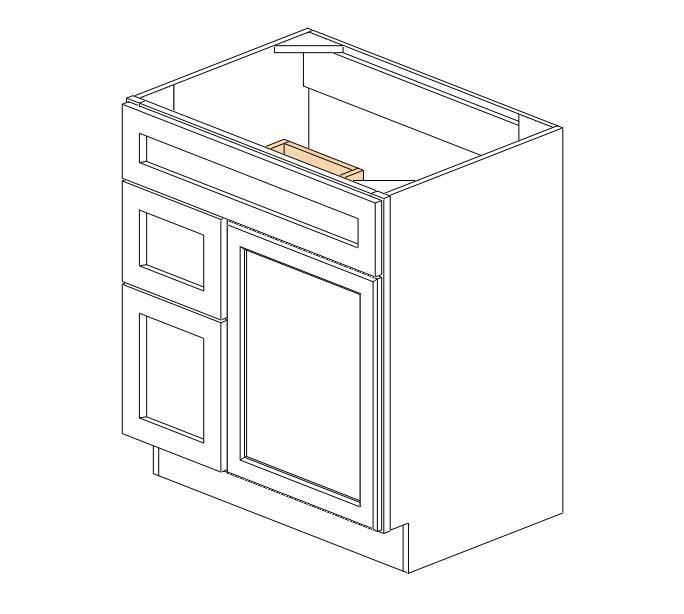"S3021DL-34-1/2"" Ice White Shaker Vanity Sink Base"