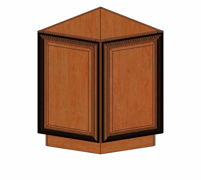 Ab24 base cinnamon glaze angle base cabinet kitchen for Angled kitchen cabinets