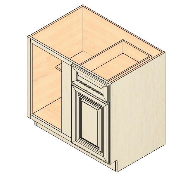 Exceptional BBC36 Vintage White Blind Base Corner Cabinet