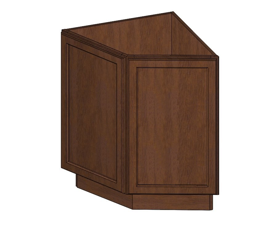 Ab24 wave hill angle base cabinet closeouts kitchen for Angled kitchen cabinets