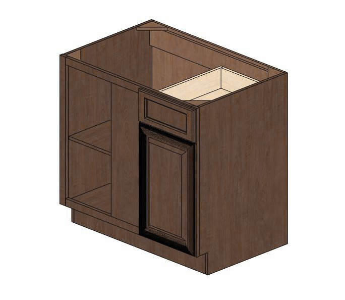 Bblc39 42 36 w espresso glaze blind base corner cabinet for Kitchen cabinets 36 x 42