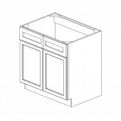 SB33B Ice White Shaker Sink Base Cabinet