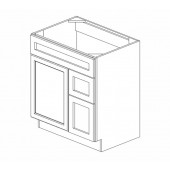 "S3021DR-34-1/2"" Uptown White Vanity Sink Base #"