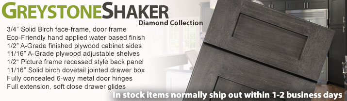 Greystone Shaker RTA Kitchen Cabinets