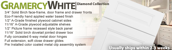 Gramercy White RTA Kitchen Cabinets